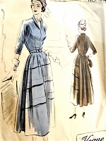 1940s BEAUTIFUL Dress Pattern VOGUE Couturier Design 480 Deep Horizontal Tucks, Full Back Panel, Daytime or After 5 Dress Bust 34 Vintage Sewing Pattern