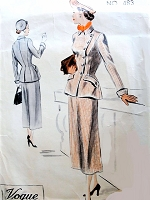 1940s STYLISH Diagonal Button Jacket and Skirt Suit Pattern VOGUE Couturier Design 483 Beautifully Fitted Jacket, Slightly Flared Skirt Bust 36 Vintage Sewing Pattern