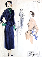 1940s ELEGANT 2 Pc Dress Pattern VOGUE Couturier Design 485 Interesting Unique Design Details Bust 30 Vintage Sewing Pattern