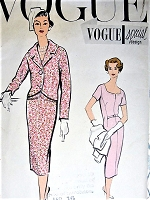 1950s STYLISH Slim Dress and Jacket Pattern VOGUE Special Design 4864 Day or Cocktail Party Dinner Dress Bust 34 Vintage Sewing Pattern