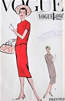 1950s ELEGANT 2 Pc Dress Pattern VOGUE Special Design 4879 Slim Skirt With 2 Overblouse Lengths Day or Dinner Bust 34 Vintage Sewing Pattern