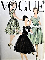 1950s LOVELY Evening Dress and Slip Pattern VOGUE Special Design 4919 Dreamy V Necklines, Shirred Bodice, Full Skirt Cocktail Party Dress Bust 36 Vintage Sewing Pattern FACTORY FOLDED
