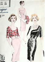1950s STYLISH Cocktail Party Dress and Overblouse Pattern VOGUE Special Design 4989 Slim Midriff Evening Dress Low Scoop Neckline and Back Bust 34 Vintage Sewing Pattern