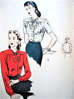 1940s LOVELY Bow Tie Blouse Pattern VOGUE 5020 Perfect Suit Blouse Bust 38 Vintage Sewing Pattern