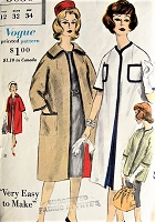 1960s Vintage STYLISH Reversible Coat in Two Lengths Vogue 5030 Sewing Pattern Bust 32