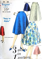 Early 60s Easy To Make 3 Skirts Pattern VOGUE 5106 Complete Circle, 4 Gored and Flared Skirts, Waist 24 Vintage Sewing Pattern