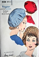 1960s FLIRTY Sally Victor Hat Pattern VOGUE 5110 Saucy Beret Style Dart Fitted Profile Hat Vintage Sewing Pattern