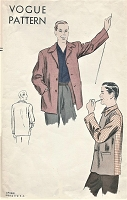 1940s Gentlemens Classic LEISURE JACKET Pattern VOGUE 5118 Casual or Cabin Wear Size Medium Vintage Mens Sewing Pattern