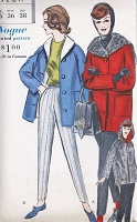 1960s CLASSY Slim Pants and Reversible Coat Pattern VOGUE 5120 Convertible Hood Jacket Car Coat, High Waist Skinny Slacks Bust 32 Vintage Sewing Pattern
