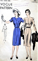 1940s CLASSY Dress Pattern VOGUE 5140 Slim Skirted Dress With Seam Interest , Day or After 5 Dress Bust 30 Vintage Sewing Pattern