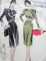 1940s FABULOUS Day or Dinner Dress Pattern VOGUE 5252 Two Easy To Make Styles Bust 34 Vintage Sewing Pattern