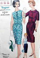 1960s CLASSY Slim Dress Pattern VOGUE 5275 Easy To Make Two Style Versions Bust 34 Vintage Sewing Pattern