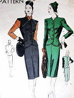 1940s FABULOUS Suit and Scarf Pattern VOGUE 5307 Short Fitted Jacket and Slim 4 Pc Skirt Bust 38 Vintage Sewing Pattern