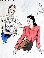 1940s LOVELY Blouse Pattern VOGUE 5368 Beautiful Forties Design Bust 36 Vintage Sewing Pattern