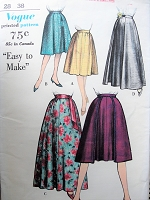 1960s Vintage FLIRTY Gored Skirt with Optional Pocket Vogue 5386 Sewing Pattern Waist 28