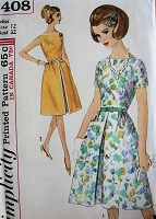 1960s LOVELY Dress Pattern SIMPLICITY 5408 Bateau Neckline Day or Party Dress,Bust 32 Vintage Sewing Pattern