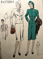 1940s STYLISH 3 Pc Suit Pattern VOGUE 5415 Slim Skirt,Fitted Jacket  and Pretty Tuck In Blouse Bust 32 Vintage Sewing Pattern