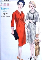 1960 SLIM Day Dress Pattern VOGUE 5422 Three Style Versions Bust 34 Vintage Sixties Sewing Pattern UNCUT