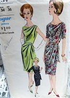 1960s EYE CATCHING Slim Draped Cocktail Party Dress Pattern VOGUE 5434 Lovely Draped Shoulder and Overskirt 3 Sleeve Versions Bust 34 Vintage Sewing Pattern