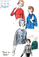 1960s EASY TO MAKE   Jacket and Scarf Pattern VOGUE 5438 Five style Versions Including Crop Jacket Elegant Designs Bust 34 Vintage Sewing Pattern