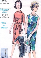 1960s CLASSY Easy To Make Slim Dress Pattern VOGUE Young Fashionables 5497 Three Fab Styles Bust 34 Vintage Sewing Pattern FACTORY FOLDED