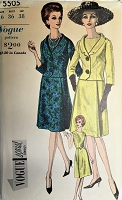 1960s CLASSY Dress and Jacket Pattern VOGUE Special Design 5505 Flared Dress, Fitted Jacket With Shawl Collar Day or Dinner Cocktail Party Bust 36  Vintage Sewing Pattern FACTORY FOLDED