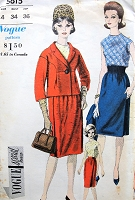 1960s STYLISH Suit and Blouse Pattern VOGUE Special Design 5615 Elegant Short Jacket, High Waist Slim Skirt, Sleeveless Bias Cut Blouse Bust 34 Vintage Sewing Pattern