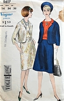 1960s VINTAGE Suit and Blouse Vogue 5617 Bust 34 Sewing Pattern