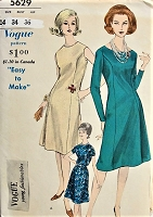 1960s EFFORTLESS Princess Dress with Scooped Neckline Vogue 5629 Bust 34 Vintage Sewing Pattern