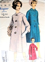 1960s ELEGANT Coat and Scarf Pattern VOGUE Young Fashionables 5630 Two Collar Styles, Easy Elegance Bust 36 Vintage Sewing Pattern