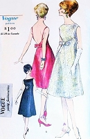 60s GORGEOUS Mod Evening Cocktail Dress Pattern VOGUE Young Fashionables 5643 Unique Pyramid Silhouette Bateau Neckline 2 Back Choices  Low V Strappy or Regular Bust 34 Vintage Sewing Pattern