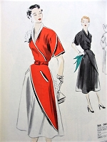 1950s UNIQUE Dress Pattern VOGUE Couturier Design 565 Day or Evening Cocktail Dinner Dress Bust 34 Vintage Sewing Pattern