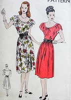 1940s PRETTY Dress Pattern VOGUE 5663 Easy To Make Dress Scoop Neckline Cap Sleeves Dress Bust 32 Vintage Sewing Pattern