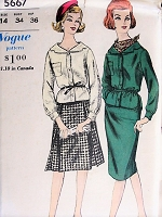 1960s EFFORTLESS Two Piece Dress and Scarf Vogue 5667 Bust 34 Vintage Sewing Pattern