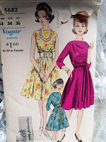 1960s PRETTY Dress Pattern VOGUE 5682 Day or Party Evening Dress Bateau Neckline Full Skirt Dress Bust 34 Vintage Sewing Pattern
