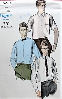 1960s MAD MEN ERA Men's Shirt Vogue 5710 Size 15 1/2 Vintage Sewing Pattern