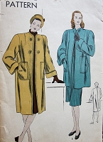 1940s FABULOUS Film Noir Style Straight Boxy Coat or Jacket Pattern VOGUE 5730 Striking Pockets Luxurious Cuffs Bust 32 Vintage Sewing Pattern
