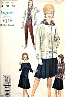 1960s FAB Weekend Wear Pattern VOGUE Special Design 5755 Skinny Slim Pants, Hooded Over Blouse, Pleated Skirt, Low Buckled Belt Jacket Bust 34 Vintage Sewing Pattern
