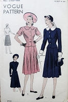 1940s  FAB Suit or 2 Pc Dress Pattern VOGUE 5765 Detachable Collar and Cuffs, Fitted Jacket Flared Skirt Very Maureen O'Hara Style Bust 34 Vintage Sewing Pattern FACTORY FOLDED