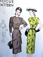 1940s LOVELY Tiered  and Draped Skirt Dress Pattern VOGUE 5777 Two Beautiful Styles Bust 34 Vintage Sewing Pattern