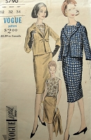 1960s Vintage GORGEOUS Suit and Blouse with Bow Detail on Jacket Vogue 5790 Sewing Pattern Bust 32