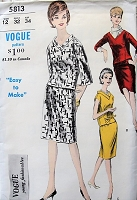 1960s STYLISH 2 Pc Dress Pattern VOGUE 5813 Three Easy styles Daytime to After 5 Bust 32 Vintage Sewing Pattern