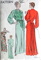 1940s GORGEOUS Housecoat Negligee Robe Pattern VOGUE 5830 Pure Glamour Hostess Lounging Gown Bust 32 Vintage Sewing Pattern