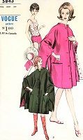 1960s FAB One Piece Bathing Suit and Cape Beach Cover Up or Cape Coat Pattern VOGUE 5843 Flattering Swimming Suit and Fabulous Cape Bust 34 Vintage Sewing Pattern FACTORY FOLDED