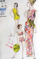 1960s JAMES BOND Era Bathing Suit, Beach Coverup Tunic and Slim Dress Pattern VOGUE 5848 Beach Resort Fashions Bust 32 Vintage Sewing Pattern
