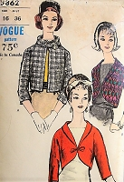 1950s STYLISH Boleros and Scarf  Vogue 5862 Bust 36 Vintage Sewing Pattern