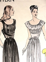 1940s GLAMOROUS Nightgown Pattern VOGUE 5901 Gathered Bodice, Shaped Midriff, Two Lovely Versions Bust 30 Vintage Lingerie Sewing Pattern