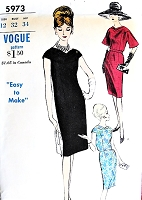 1960s ELEGANT Day or Evening Sheath Dress Pattern VOGUE 5973 Two Classy Versions Perfect Little Cocktail Party Dress Bust 32 Vintage Sewing Pattern