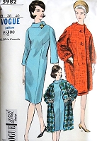 Early 60s FABULOUS Coat and Slim Dress Pattern VOGUE Special Design 5982 Fitted Slim Dress, Elegant Coat Bust 38 Vintage Sewing Pattern FACTORY FOLDED