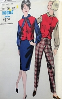 1960s FAB Blouse, Slim Skirt, Waistcoat and High Waist Pants Pattern VOGUE 5983 Classy Separates Perfect Office Wear Bust 36 Vintage Sewing Pattern FACTORY FOLDED